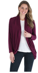 Women's Lightweight Knit Slouch Cardigan Wrap in Burgundy