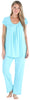 PajamaMania Women's Short Sleeve Pajama Set in Caribbean Blue
