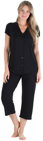 PajamaMania Women's Lightweight Short Sleeve Button Up Capri Pajama in Solid Black