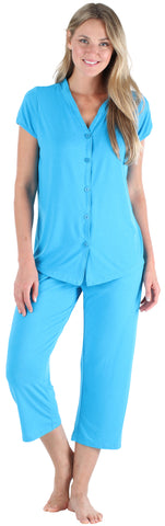 Stretchy Knit Button Up Top and Capri Set in Hawaiian Blue