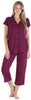 Stretchy Knit Button Up Top and Capri Set in Burgundy