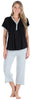 Women's Stretchy Knit V-Neck Top and Capri Pant Set