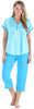 PajamaMania Women's Lightweight V-Neck Short Sleeve Capri Pajama in Caribbean Blue