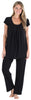 PajamaMania Women's Short Sleeve Pajama Set in Black