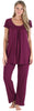 PajamaMania Women's Short Sleeve Pajama Set in Burgundy