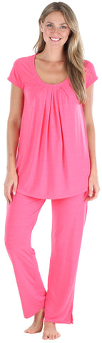Stretchy Knit Oversized Top and Pants Set in Hot Pink
