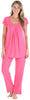 PajamaMania Women's Short Sleeve Pajama Set in Fuchsia