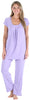 PajamaMania Women's Short Sleeve Pajama Set in Lilac