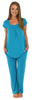 PajamaMania Women's Short Sleeve Pajama Set in Sea Blue