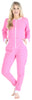 Adult Women's Footed Onesie Pajama in Light Pink w/ White Zipper