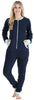 Adult Women's Footed Onesie Pajama in Navy Blue w/ Teal Zipper
