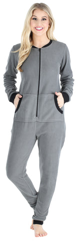 Adult Women's Footed Onesie Pajama in Grey w/ Black Zipper