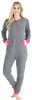 Adult Women's Footed Onesie Pajama in Grey w/ Hot Pink Zipper