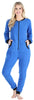 Adult Women's Footed Onesie Pajama in Blue w/ Black Zipper