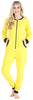 Adult Women's Footed Onesie Pajama in Yellow w/ Black Zipper