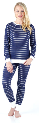 Navy & White Stripe in Women's Striped Knit Lounge Set
