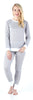 Women's Striped Knit Lounge Set in Light Grey & White Stripe