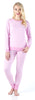 Women's Striped Knit Lounge Set in Light Pink & White Stripe