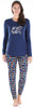 Women's Knit Long Sleeve Tunic Top and Leggings Pajama Set in Navy Lights