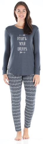 Women's Knit Long Sleeve Tunic Top and Leggings Pajama Set in Arrows