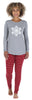 Women's Knit Long Sleeve Tunic Top and Leggings Pajama Set in Red Stripe Snowflake