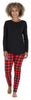 Women's Knit Long Sleeve Tunic Top and Leggings Pajama Set in Red Plaid