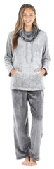 Women's Fleece 2-Piece Cowl Neck Loungewear Pajamas in Grey Melange