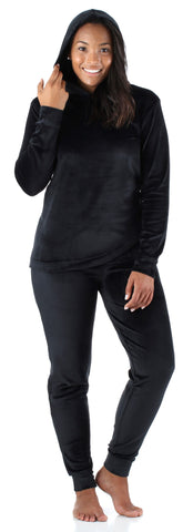 Women's Velvet Velour Hooded Loungewear Set in Black