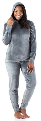 Women's Velvet Velour Hooded Loungewear Pajama Set