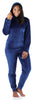 Women's Velvet Velour Hooded Loungewear Set in Navy