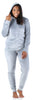 Women's Velvet Velour Hooded Loungewear Set in Light Grey