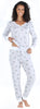 Women's Knit Long Sleeve Henley and Pant Pajama Set in Grey Cat Lover