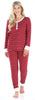 Women's Knit Long Sleeve Henley and Pant Pajama Set