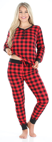 Women's Knit Long Sleeve Henley and Pant Pajama Set in Buffalo Plaid