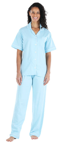 Women's Stretchy Jersey Short Sleeve Button Up Top and Pants Pajama Set