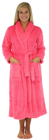 Sleepyheads Women's Jacquard Plush Fleece Long Robe in Heavenly Pink