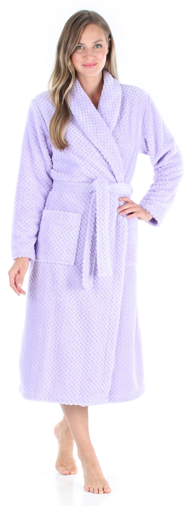 Women's Plush Fleece Robe Jacquard Long Sleeve Bathrobe