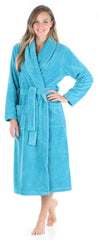 Women's Plush Fleece Robe Jacquard Long Sleeve Bathrobe in Teal