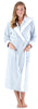 Women's Fleece Long Sleeve Robe Sherpa-Lined Hooded Bathrobe in Heather Blue