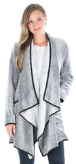 Women's Fleece Long Sleeve Wrap Robe Cardigan with Pockets in Charcoal