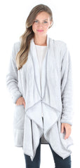 Fleece Wrap Robe with Pockets, Long Sleeve Cardigan in Heather Grey