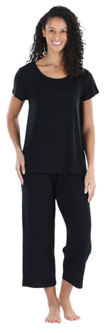 Women's Jersey Tee and Capri Set in Black