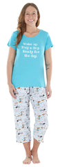 Women's Jersey Lightweight Short Sleeve Tee and Capri Pajama Set in White Dogs