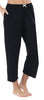 Women's Stretchy Knit Capri Pants in Solid Black