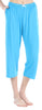 Women's Stretchy Knit Capri Pants in Hawaiian Blue