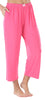 Women's Stretchy Knit Capri Pants in Fuchsia