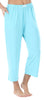 Women's Stretchy Knit Capri Pants in Caribbean Blue