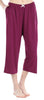 Women's Stretchy Knit Capri Pants in Burgundy