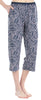 Women's Stretchy Knit Capri Pants in Grey with Pink Leaves