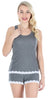 Women's Tank and Short set with lace in Charcoal W/ White Dots